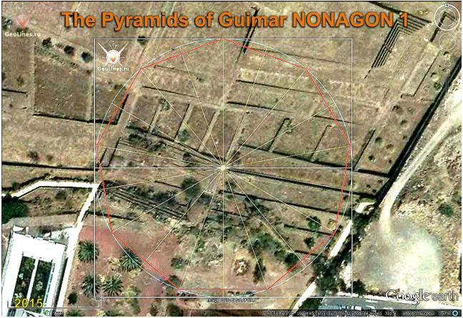 Pyramids of GUIMAR nonagon orientation