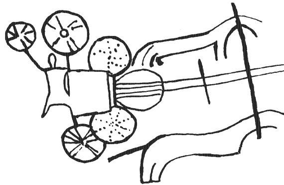 Наскальное изображение колесницы арьев. Северная Индия