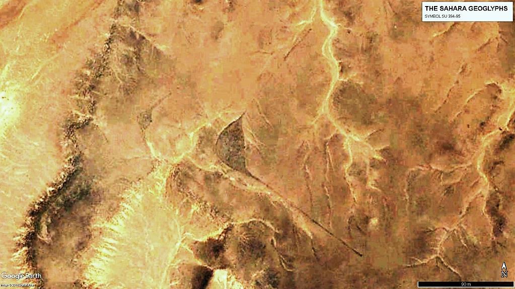 Геоглифы SU 394 и SU 395.  Длина лучей большого символа – более 100 м