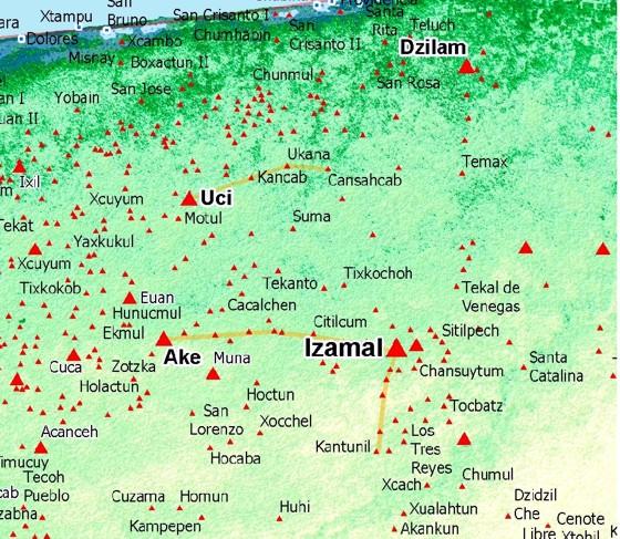 города цивилизации майя на карте