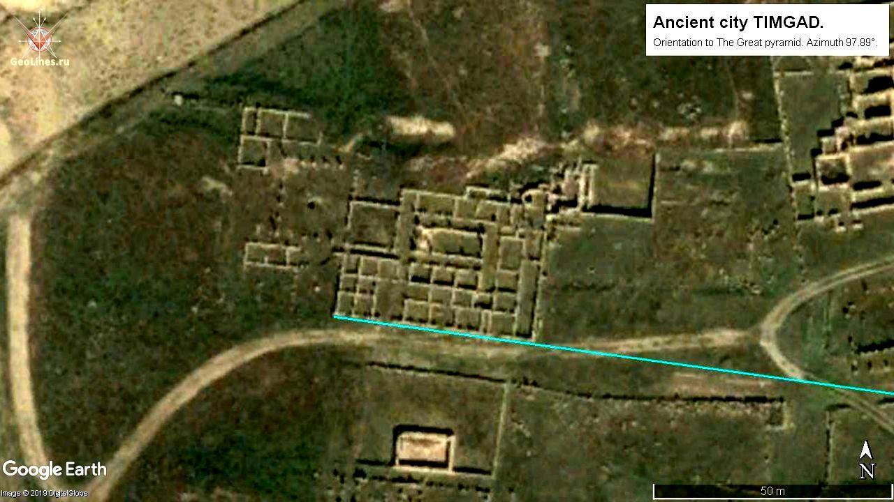 планировка и расположение города Тимгад. Ориентация на Великую пирамиду в Гизе