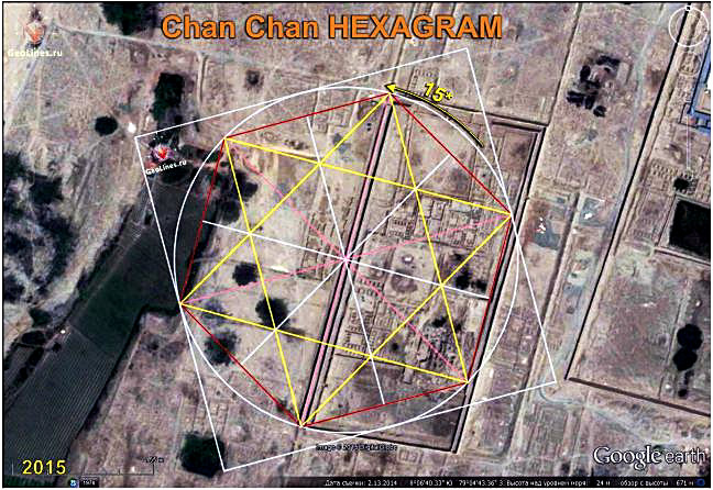 Chan Chan the orientation of nonagon, hexagram, octagon