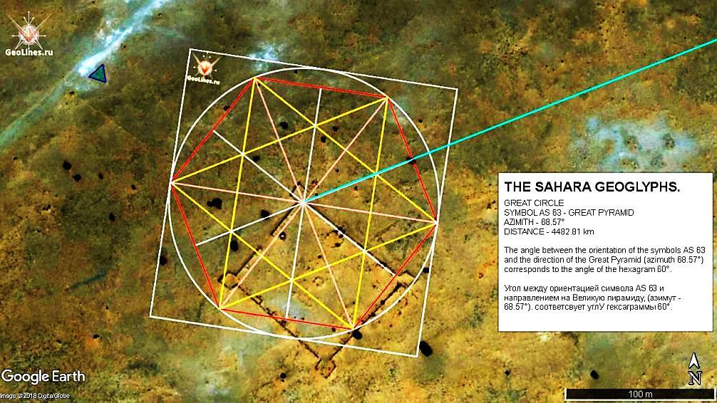 Геоглиф AS 63.  Направление на Великую пирамиду