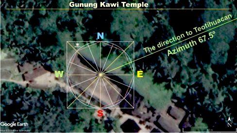 Гунунг Кави направление на Теотиуакан