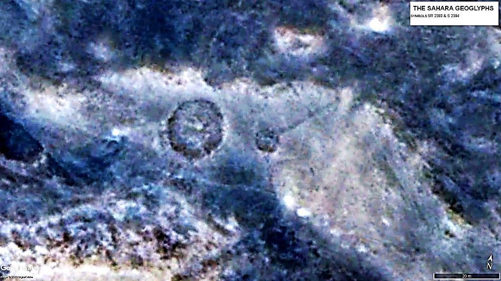 Рядом с небольшим символом S 2384 подвида «спутник» находится геоглиф в виде круга – SR 2383