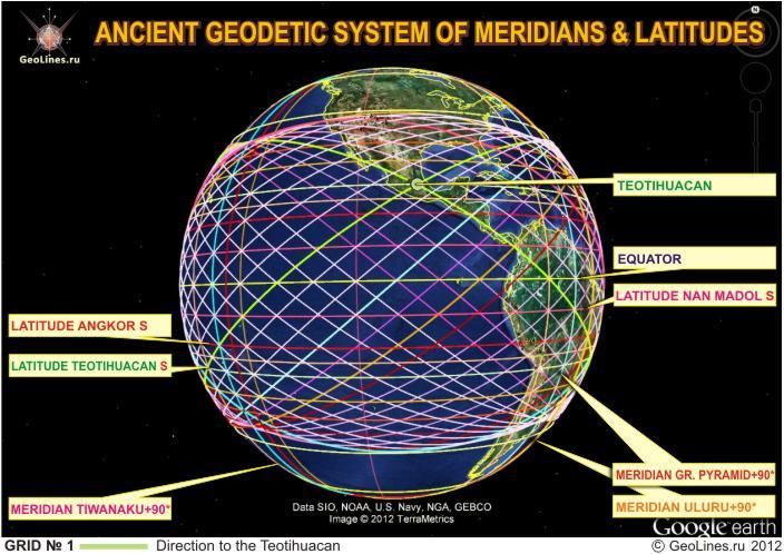 Система диагоналей направление на Теотиуакан