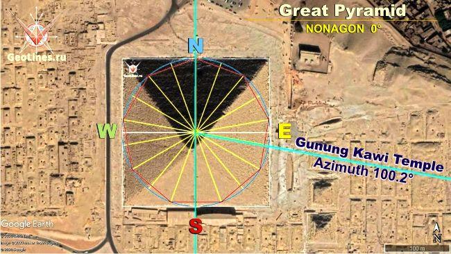 Направление на Гунунг Кави от Великой пирамиды