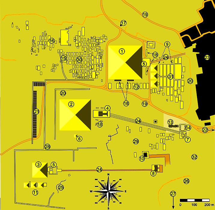 Плато Гизы карта  план схема чертёж карта