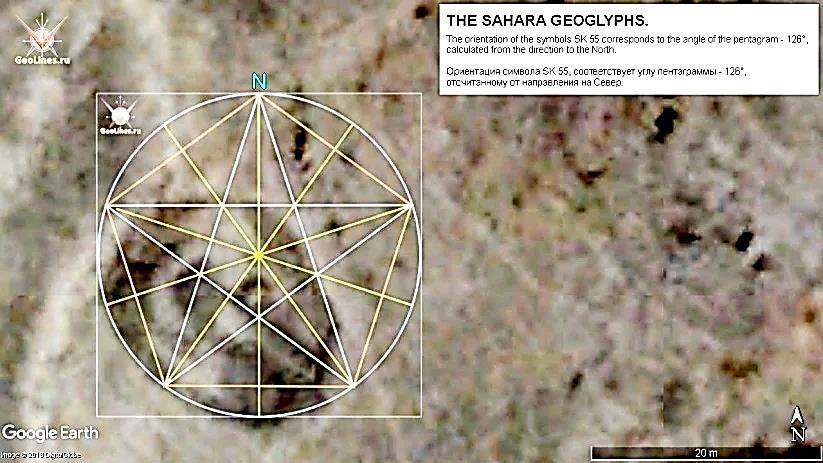 геоглифы Сахары Символ SK 55. Ориентация 126°