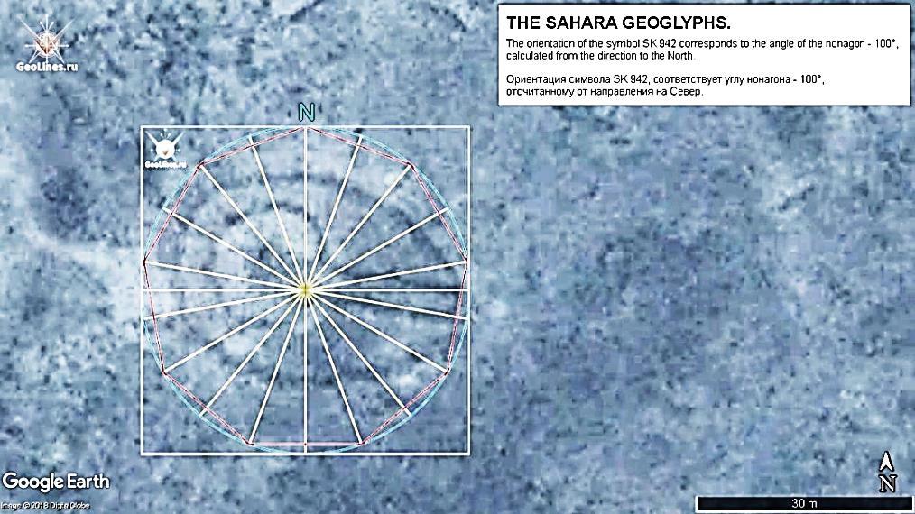 геоглиф Сахары Символ SК 942. Ориентация 100°