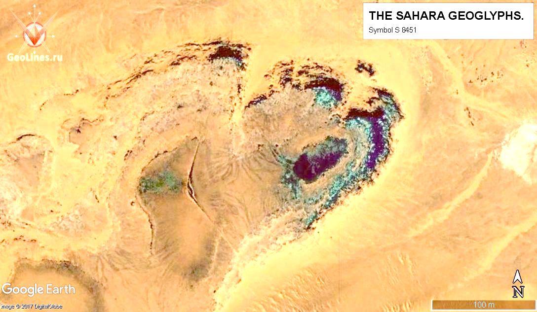 Геоглиф S 8451, расположенный в центре небольшого плато. Длина лучей – более 150 м