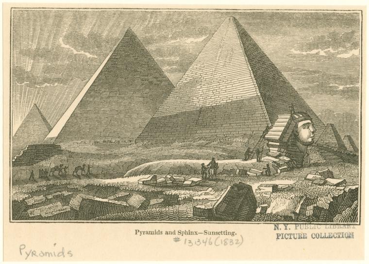 Рассвет над пирамидой и Сфинксом. Рисунок 1832 года.