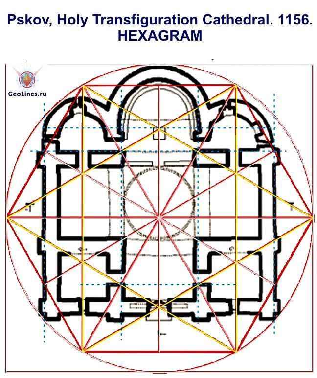 Мирожский монастырь Псков Собор Спаса Преображения гексаграмма