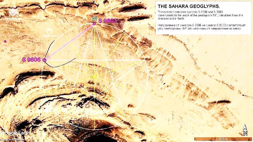 Направление S 9806 – S 9803. Азимут 54°