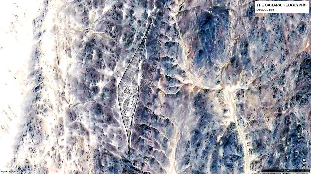 Геоглиф S 1160 размером более 200 метров выполнен на сложном рельефе в небольшой долине между двумя хребтами